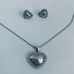 Jewelry - Heart Necklace and Earring Set - Sterling Silver